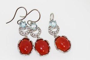 925 Orange Chalcedony/Blue Topaz/White Topaz/Earring/Pendant(12.99 cts)