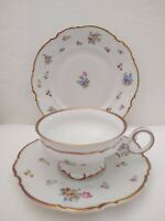 Hutschenreuther Mayfair Cup Saucer Plate Trio Floral Heavy Gold Germany Vintage