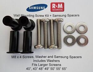 """M8 Wall Mount Screws Kit + spacers Samsung K,M,N & RU Series LED QLED 40"""" +"""