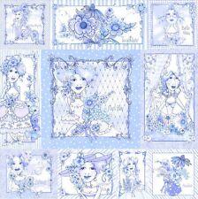 LORALIE Flora Bleu Panel Patchworkstoffe Stoffe Patchwork Baumwollstoffe Frauen