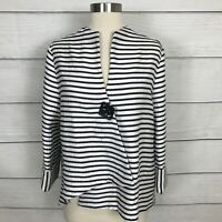 Joseph Ribkoff Asymmetrical Day To Evening Cover Up Jacket Size 10 Striped Black