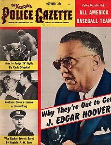1954 Police Gazette October - J Edgar Hoover; All-america Baseball; Vice-rackets