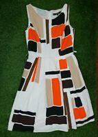 Principles Ben Dr Lisi Size 10 Orange Black Sleeveless Fit N Flare Dress