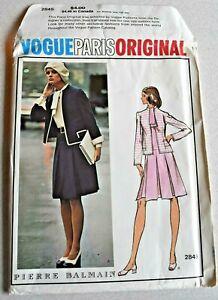 Vogue Paris Original #2845 Pierre Balmain Uncut Dress Jacket Pattern Size 12 B34
