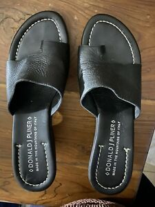 Donald J Pliner Black Italian Leather Toe Sandal Wedge Eu 37 Au 7
