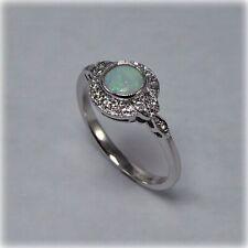 9ct White Gold Opal & Diamond Ring
