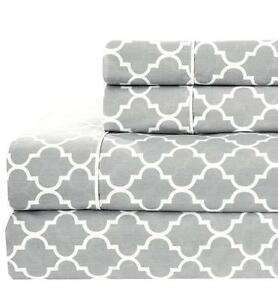 Queen Size Bed Sheet Set- Printed Meridian 100% Cotton Percale 4PC Sheets Sets
