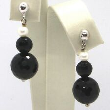 DROP EARRINGS WHITE GOLD 18K, WHITE PEARLS, ONYX BLACK FACETED