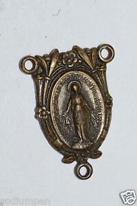 WOW Aged Vintage Religious Catholic MARY Metal Necklace / Rosary Charm Rare