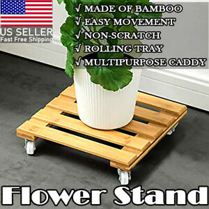 Bamboo Plant Stand with Wheels, Mobile Flower Pot Mover Roller for Patio Outdoor