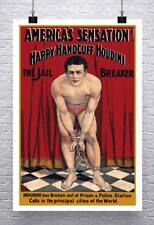 Harry Handcuff Houdini Vintage Magician Poster Rolled Canvas Giclee 24x36 in.