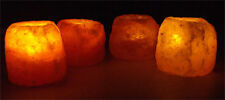 4 X HIMALAYAN CRYSTAL ROCK SALT CANDLE TEA LIGHT HOLDER 100% NATURAL  XMAS GIFT