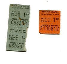 Vintage Tickets 1964 NY WORLDS FAIR BELGIAN VILLAGE 64 & 65 3 tix total