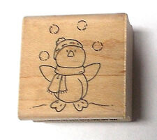 Juggling penguins D0028 A Muse rubber stamp wood mounted Christmas stamps mount