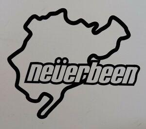 """Neverbeen Race Track 4.5"""" x 4"""" lambretta vespa Camper Van car  Decal bike"""
