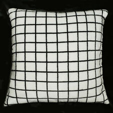 fa03a Black on White Soft Fleece Checked Pattern Print Cushion Cover/Pillow Case