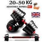Adjustable Dumbbells 20 50Kg Weights Barbell Set Dumbells Exercise Fitness Gym