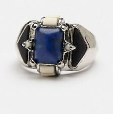 Free People Mixed Stones Silver Blue Lapis Ring Size 6
