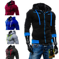 New Mens Fashion Hoodies Sweatshirts Slim Fit Hooded Jacket Zipper Top HD02