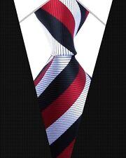 GIFTS FOR MEN Classic Mens Fine Striped Silk Stripe Necktie Tie Black Red White