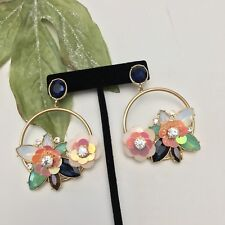 Floral Colorful Sequin Beaded Crystal Hoop Dangle Statement Earrings