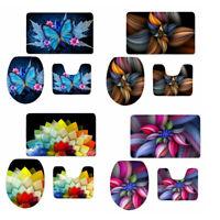 Butterfly Floral Bathroom Rug Set Toilet Seat Lid Cover Pedestal Carpet Mat 3pcs