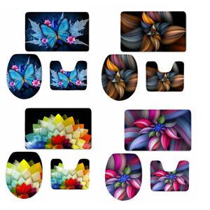 3pcs Butterfly Floral Bathroom Rug Set Bath Seat Lid Cover Pedestal Carpet Mat