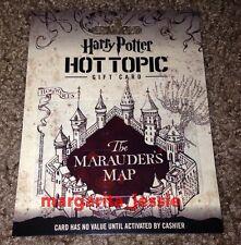 "HOT TOPIC ""HARRY POTTER HOGWARTS THE MARAUDER'S MAP"" GIFT CARD NO VALUE NEW"