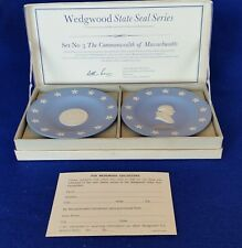 2 Wedgwood Jasperware Massachusetts Commemorative Bicentennial Compotiers Iob