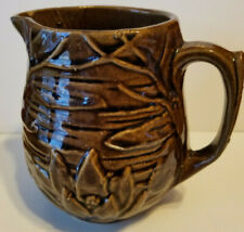 """Vintage McCoy Pottery Brown Pitcher Water Lily Lotus #124 5"""" Tall"""