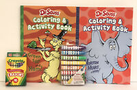4 Dr Seuss Coloring Activity Books Green Eggs & Ham Horton Hears Crayons Markers