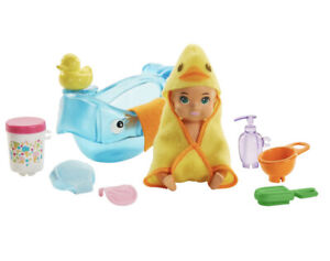 Barbie Skipper Babysitters Inc Baby Bath Time Playset, Wipe Babies Face New P2