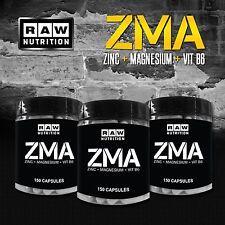 RAW NUTRITION - 3 x ZMA CAPSULES - 150 Capsules - Zinc, Magnesium, Vitamin B6