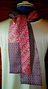 100% silk men's cravat/scarf  Liberty print pieced fabric Red/beige (3)  NEW