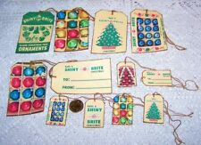Christmas~Vintage~Retro~Ornament~Linen Cardstock~Gift~Hang~Tags