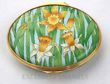 Halcyon Days Enamels RHS Daffodils By Alice Bickham Enamel Box