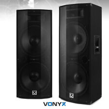 """Active Powered PA Speakers (Pair) with Bluetooth Dual 15"""" DJ Sound System 1600w"""
