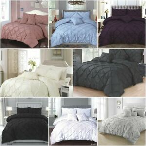 PINTUCK DUVET SET QUILT COVER S,D,K & SK With OR Without Deep Fitted sheet A+