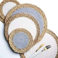 3 Piece Natural Table Rattan Placemats Set Handcrafted Woven Heat Resistant Pads