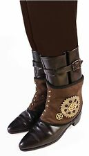 Womens Brown Victorian Steampunk Boot Covers Spats With Gears Costume Accessory