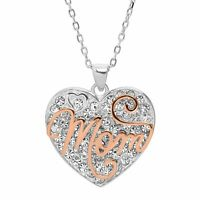 """'Mom' Two-Tone Crystal Heart Pendant in Rose Gold Plated Sterling Silver, 18"""""""