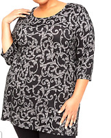 Catherine's 4X 30/32 Easy Fit Tee Women's Tunic Top Black White Flourish Bust 66
