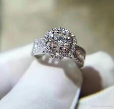 2.00Ct Round-Cut VVS1 Brilliant Diamond Halo Engagement Ring 10k White Gold