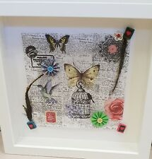 Butterflies & Feathers Handmade Crafts Picture in White Frame (1 of akind)