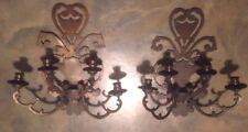SET of 2 LARGE Metal Artisan Designer Hand Finished 4 Candle Candelabra Sconces