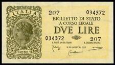 ITALY 2 LIRE  LUOGOTENENZA 1944 XF BIGLIETTO DI STATO SMALL BANKNOTE LOOK!
