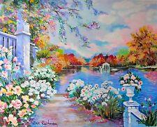"ZINA ROITMAN ""Lac Fleuri"" Hand Signed Limited Edition Serigraph Art on Canvas"