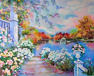 "ZINA ROITMAN ""Lac Fleuri"" Hand Signed Limited Edition Serigraph Art"