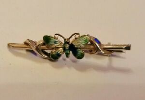 1914 CHESTER Adie & Lovekin sterling silver enamelled butterfly brooch