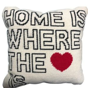"""NEW Pottery Barn Accent Pillow Wool """"Home is Where Heart Is"""" Decor Square 12"""""""